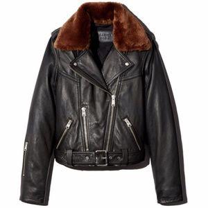 ALLSAINTS Rigby Lux Faux-Fur Trim Leather Jacket